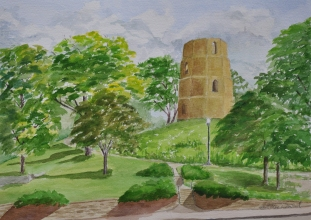 The Sentinal, Beloit, Wi. Paint the Rock, Plein Air Festival -. Watercolour Arches paper 15″ x 10 1/2″ mat & Neilson Frame 20 x 16 unframed $275. Framed $350.