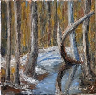 "Ojibway, Windsor, On, Plein Air 8"" x 8"" oil on canvas $100."