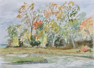 Sprucewood Winery Pond Watercolour on Waterford paper unframed $275. Framed $375.