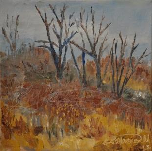 """Petite Côte Conservation Area, Plein Air 8"""" x 8"""" oil on canvas $100."""