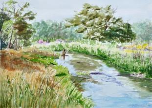 A River Runs Through It, Dexter, Mi Plein Air Festival -. Watercolour Arches paper 15″ x 10 1/2″ mat & Neilson Frame 20 x 16 unframed $275. Framed $350.