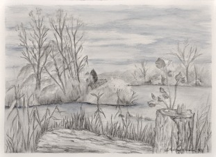 """Detroit River Grassy Island Holiday Harbour Marina Graphite on Arches paper 15"""" x 10 1/2"""" mat & Neilson Frame 20 x 16 unframed $275. Framed $375."""
