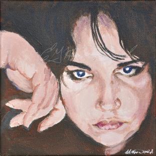 "You Want a Piece of Me? Julia Kay Portrait Party, Studio 6""x6"" acrylic on canvas $125."