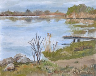 Waiting for Spring, Reflections on River Canard River Canard Park, LaSalle, On. Plein Air Oil on 8 x 10 panel. $275.