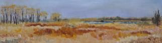 "Spring Marsh, Petite Côte Conservation Area. Oil on Canvas, 8"" x 24"" Unframed $200."