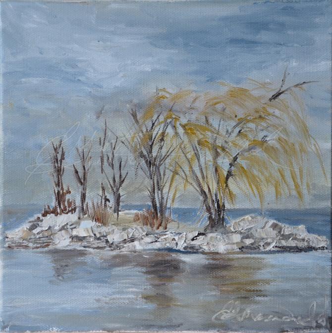 "Sturgeon Island, McKee Park, Detroit River, Windsor, ON Plein Air 8"" x 8"" Oil on canvas Donated Artilicious fundraiser for the Kidney Foundation."