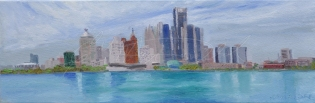Renaissance City, Detroit Skyline, Plein Air oil on canvas 8 x 24 x 1 1/2 deep $375. On display at ArtSpeak Gallery until Dec. 19th, 2014