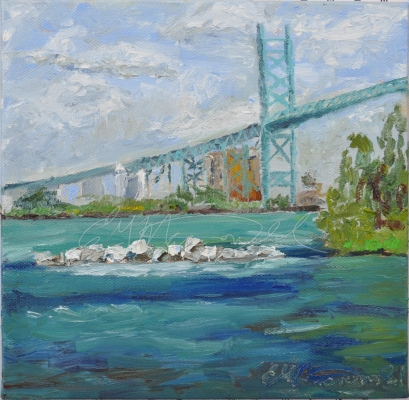 Ambassador Bridge from McKee Park on a lovely sunny day in private collection Gifted.