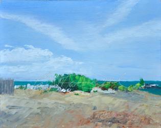 A Day at the Beach, Cedar Beach, Kingsville Plein Air 8 x 10 oil on panel. $275.