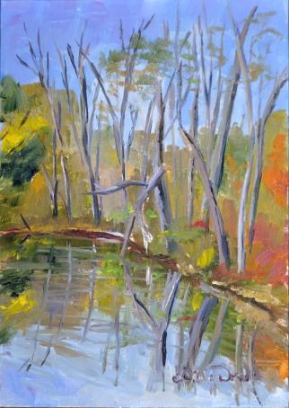 Fall at Malden Park 5 x 7 oil on Ampersand Gessoboard. $150. framed