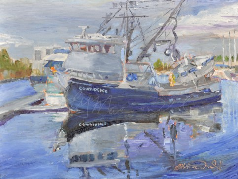Confidence! Fisherman's Terminal, Seattle, Washington Plein Air 9 x 12 Oil on Ampersand Museum Series Gessoboard Sold!