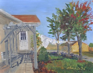 Line Dried Linens, Plein Air 8 x 10 Oil on Ampersand Museum Series Gessoboard $275