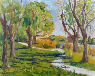 River Walk, 8 x 10 Oil on Ampersand Gessobord, Painted en Plein Air on location at River Canard Park, LaSalle, On. $275.
