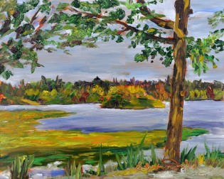 Lilly Pad Shores, Green Lake, Seattle, Wa. 8 x 10 Oil on Ampersand Museum Series Gessoboard $275