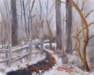 First Snow, 8 x 10 oil on Ampersand Museum Gessobord $275.