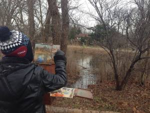 Painting the reed filled corner of the creek at Ojibway on Dec 1, 2014