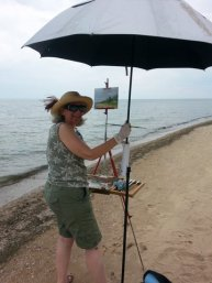 Painting Vera's Refuge on the East Beach, storm incoming