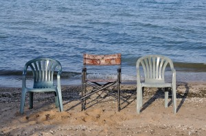 Chairs positioned to catch the last rays of the day.