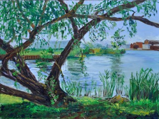 Old Willow by the Bay, 9 x 12 oil on Ampersand museum Gessobord. $350