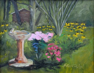 Sunset on Victoria's Garden. Gifted to my host. 8 x 10 Oil on Ampersand Gessobord