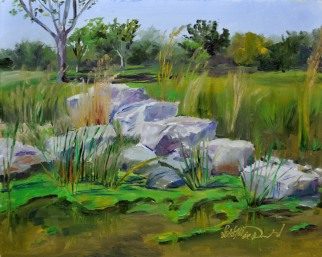 Just Ducky (weed), 8 x 10 oil on ampersand $275. framed. River Canard Park, native garden