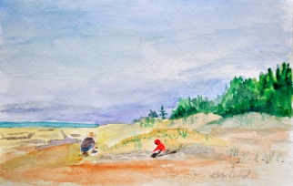 """Rock Hounds 8"""" x 5.5"""" watercolour on Strathmore paper $100. unframed"""