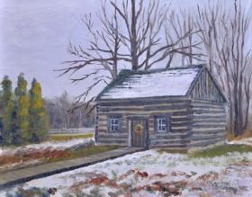 Clark Cabin, Heritage Village 11 x 14 Oil on Ampersand. $425. framed (Donation given to Heritage Village upon sale.)