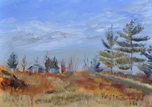 Malden Hilltop Limited palette 5 x 7 Oil on Ampersand Gessobord. $175 framed
