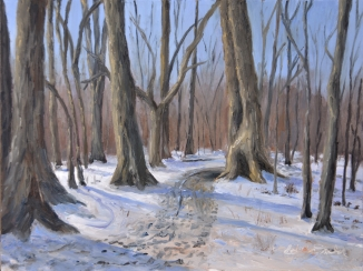 Last Snow, Ojibway Park 12 x 9 oil on Ampersand Art Supply gessobord. $350
