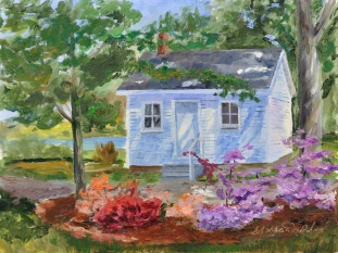 Pensioner's Cottage in the Spring. Oil on Ampersand Art Supply gessobord 9x12 $350. — at Navy Yard Par