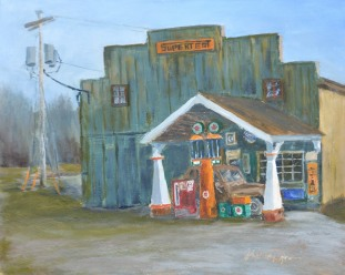 """Corner Gas"""" 8x10 oil on Ampersand gessobord. $275. $25 from the sale of this painting will go to CTMHV."""